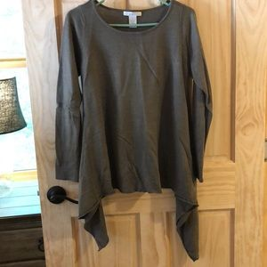 Asymmetrical swing Taupe sweater